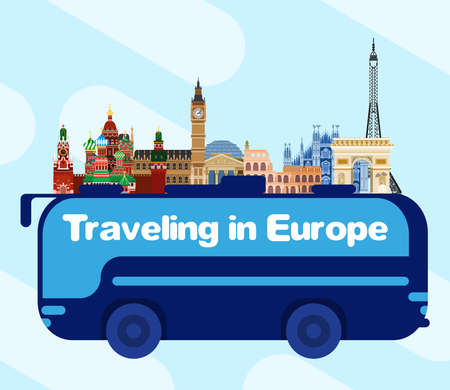 Bus travel across Europe. from Russia to England. Flat style vector