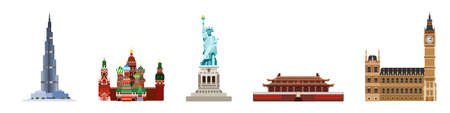 the main attractions of the world. from Asia to America .flat style vector