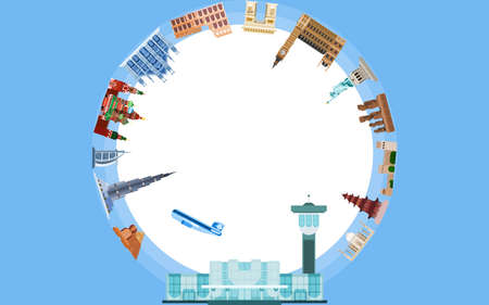 from the airport around the world. journey to vivid sensations. flat style vector