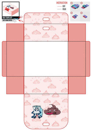 box template for printing. pink background and poop. doodle style vector