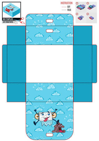 box template for printing. blue background and toilet paper. doodle style vector 向量圖像