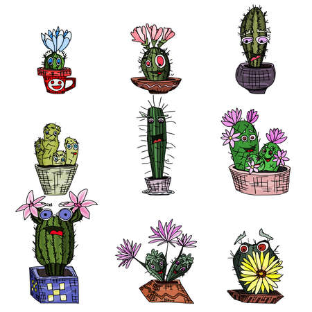 cacti monsters with cute faces. plants in clay pots. doodle style vector