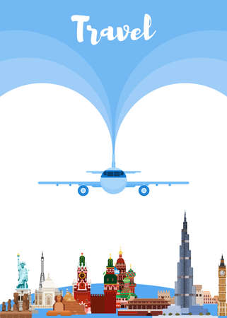 By plane all over the world. from Russia to Europe and to the East. flat style vector 向量圖像