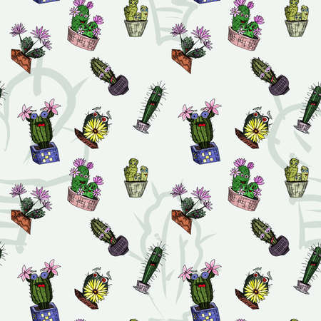 seamless pattern cacti monsters indulge on a light background. doodle style vector