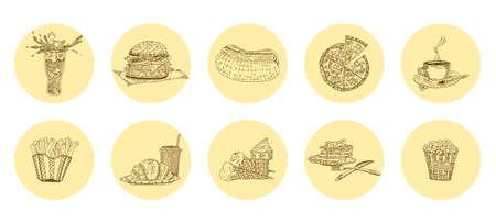 fast food harmful delicacies most favorite. vector sketch doodle stock