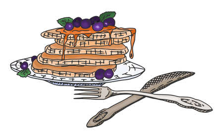 pancakes with berries and syrup on a plate. vector doodle sketch