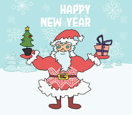 santa claus new year doodle poster. postcard sketch vector