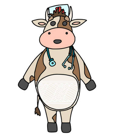 bull doctor with a hat on his head. vector doodle illustration