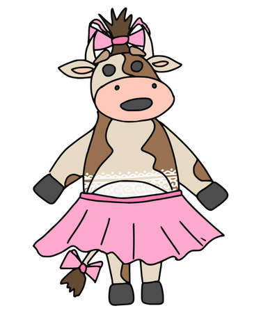 cow girl in a pink skirt with a bow on her head. vector doodle illustration