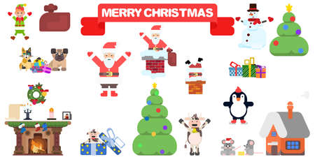 flat characters large selection of santa claus and others. flat style vector