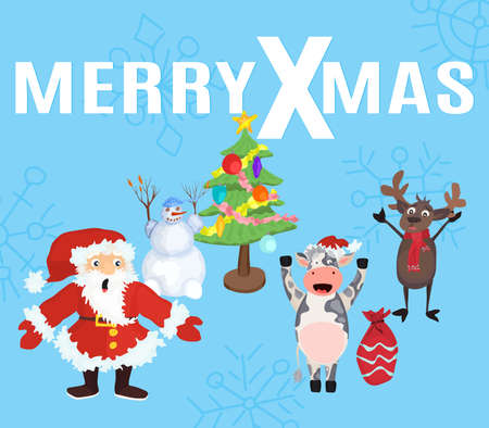 merry christmas poster with characters and text. flat style vector 矢量图像