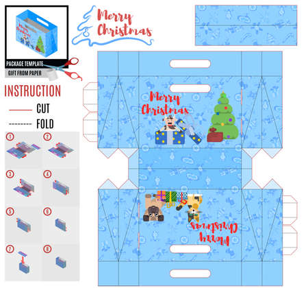 pets and christmas tree box template for holiday. flat style vector Ilustração