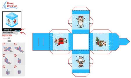 festive box with merry Christmas bulls. vector doodle cow