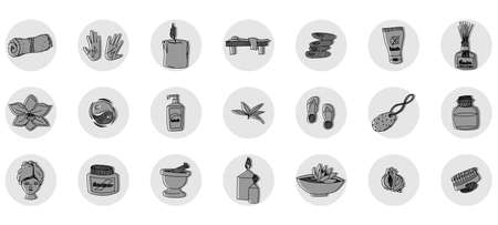 black and white collection of spa salon icons. vector doodle sketches