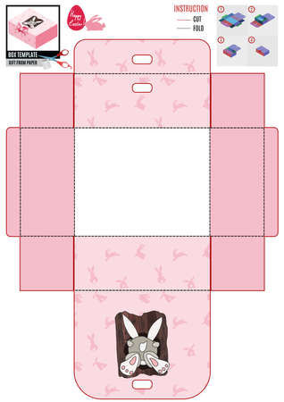 Easter pink box template. the hare climbs into the hollow. vector doodle sketch