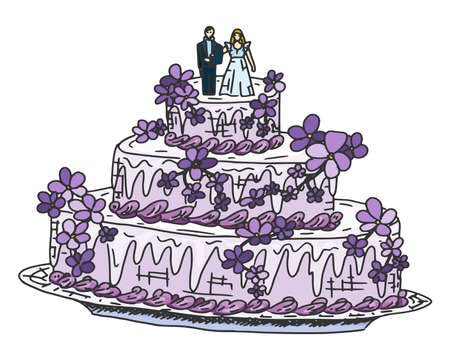 festive wedding cake with souffle and marzipan figurines. doodle sketch illustration