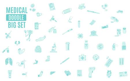 big doodle compilation medicine green. sketch vector image