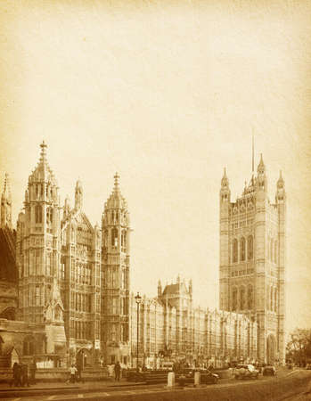 vintage paper textures. Houses of Parliament in London UK view from Abingdon street Stock Photo