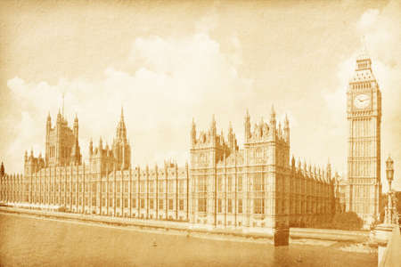 vintage paper textures  vintage background with Houses of Parliament with Big Ban tower in London UK Stock Photo - 12919637