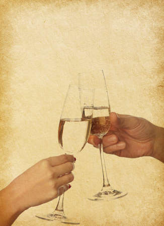 vintage  paper texture   glasses of champagne  in hands