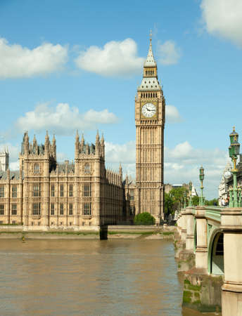 house of Parliament with Big Ban tower in London UK view from Themes river photo