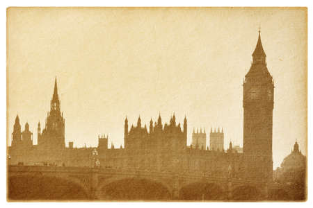 old paper  isolated on the white. Buildings of Parliament with Big Ban tower in London UK.  photo