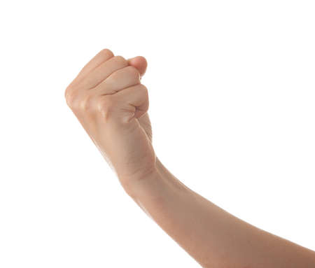 strong arm: Hand with clenched fist, isolated on a white background Stock Photo