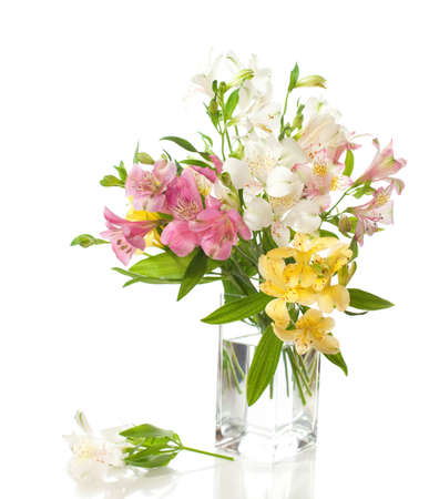 Bouquet of Alstroemeria flowers isolated on white background   photo