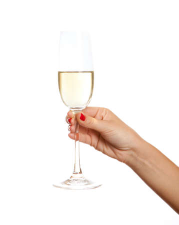 white wine glass: Wine glass in a hand of the woman,  isolated on white Stock Photo