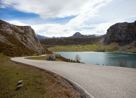 road  near Lake Enol    Picos de Europa  Asturias  Spain photo