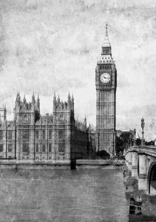 Grunge old paper   Buildings of Parliament with Big Ben tower in London, UK  photo