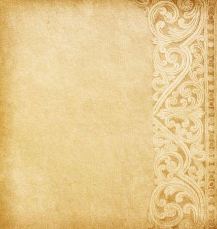worn paper: Antiguo papel usados ??con adornos florales