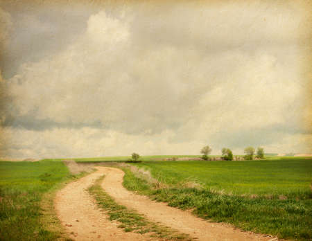 rough road: paper texture. rural road in retro style