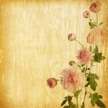 material flower:  pink chrysanthemum on a grunge wood background