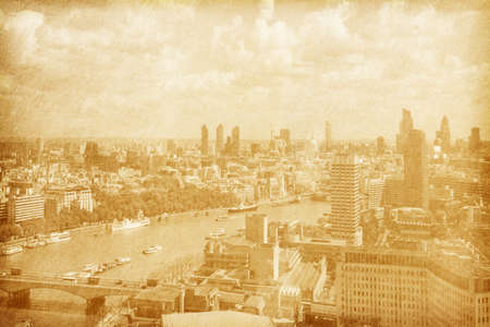 paper texture  London, UK  Panoramic skyline seen from the London Eye  sepia photo