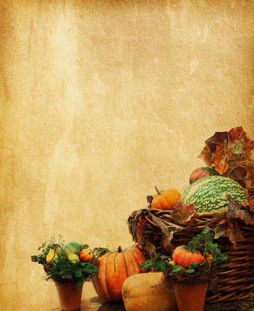 old paper with decorative pumpkins  photo