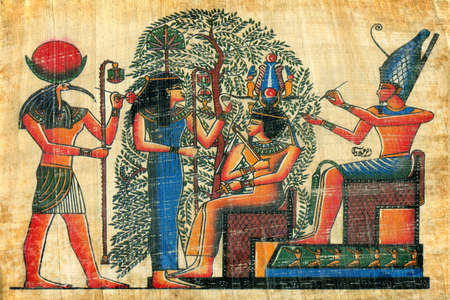 hieroglyphics: egyptian papyrus  with elements of egyptian ancient civilization Stock Photo