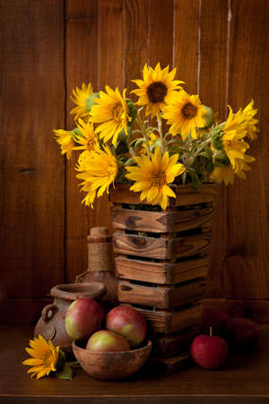 apple sack: Still life with Sunflowers.