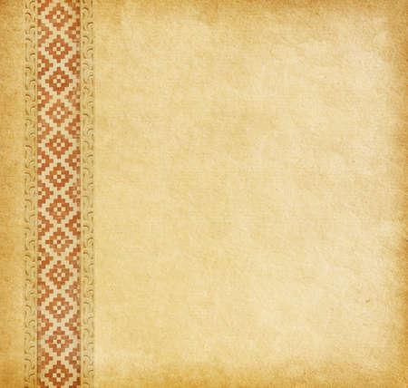 worn paper: Fondo beige. Antiguo papel usado con el ornamento oriental.