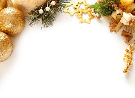 christmas decorations with white background: Christmas decoration  background with space for text or image  Stock Photo