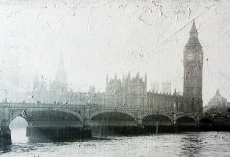 texture of canvas with  Buildings of Parliament with Big Ban tower in London UK view from Themes river  photo