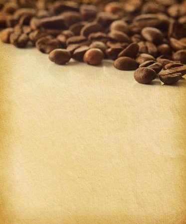 vintage papír textúrák kávébab -Nagyon kis mélységélességet