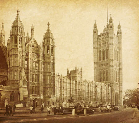 english famous: vintage paper textures  Houses of Parliament in London UK view from Abingdon street