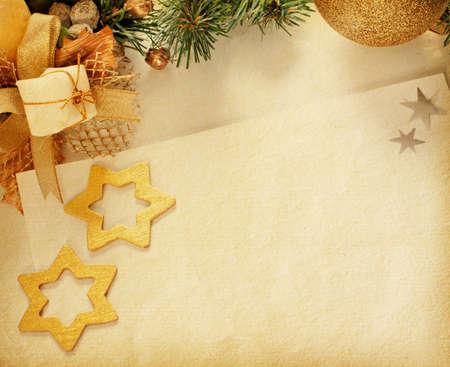 Karácsony szüret határ régi papír Stock fotó