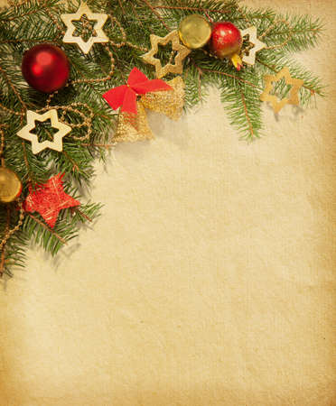 Christmas vintage border  old paper Stock Photo