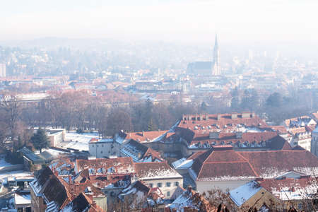 Morning  Graz panorama, beautiful view from hill above the city center  Austria