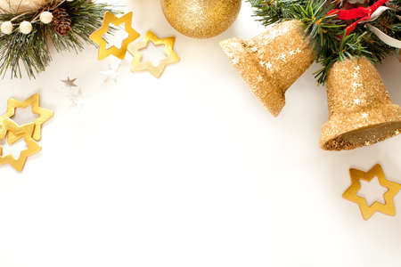 three dimensional background: Christmas frame for greeting card