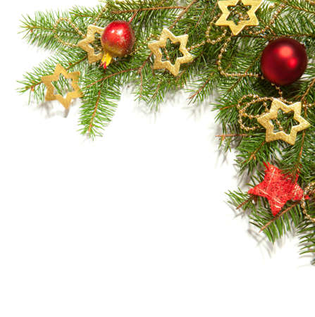 christmas beads: Christmas Border isolated on white