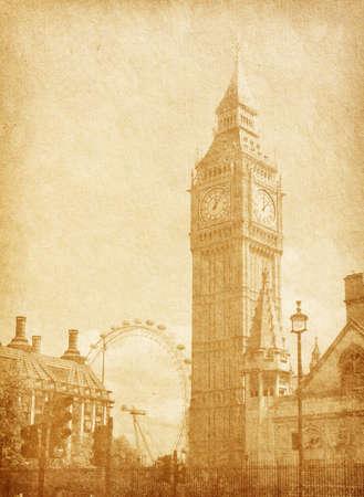 régi papír textúra London, Egyesült Királyság Kilátás Abingdon utca szépia Stock fotó