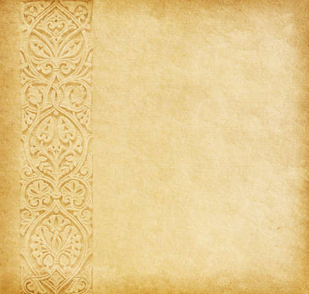 beige: Beige background  Old paper with oriental ornament  Stock Photo
